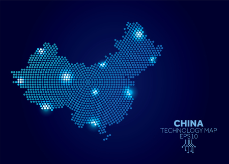 China dotted technology map. Modern data communication concept