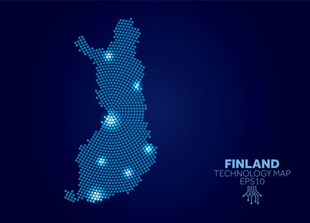 Finland dotted technology map. Modern data communication concept