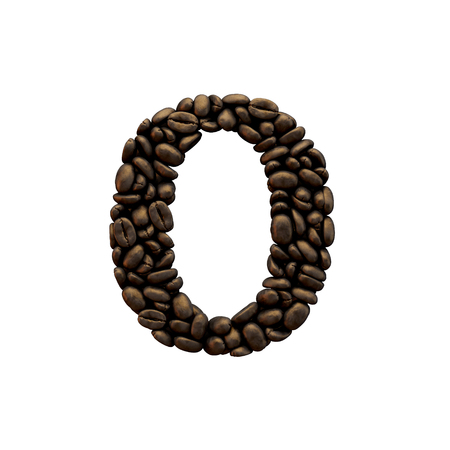 Number 0 coffee bean font lettering. 3D Rendering 免版税图像