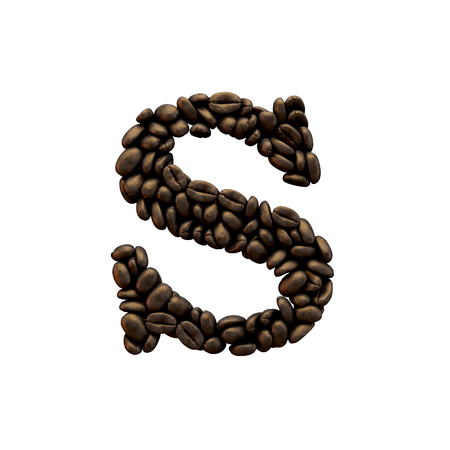 Letter S coffee bean alphabet lettering. 3D Rendering