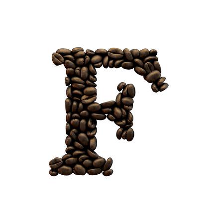 Letter F coffee bean alphabet lettering. 3D Rendering