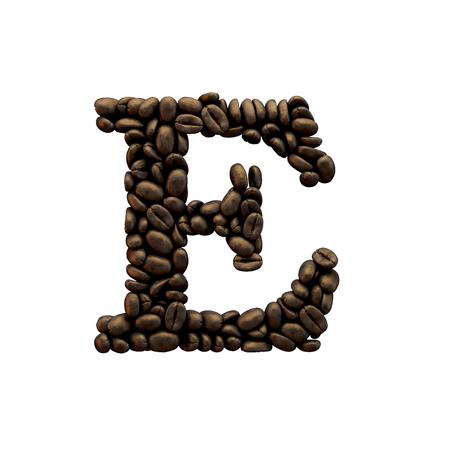 Letter E coffee bean alphabet lettering. 3D Rendering 版權商用圖片