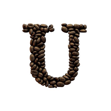 Letter U coffee bean alphabet lettering. 3D Rendering