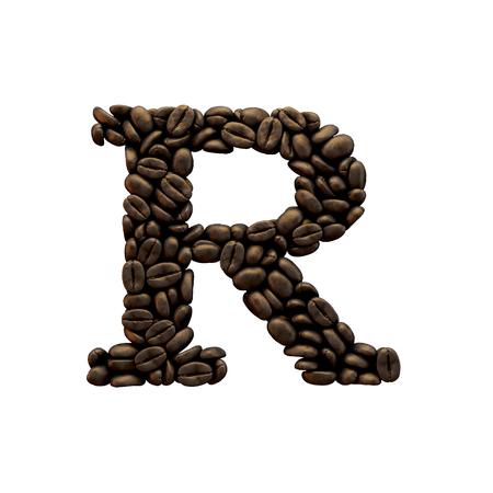 Letter R coffee bean alphabet lettering. 3D Rendering 版權商用圖片