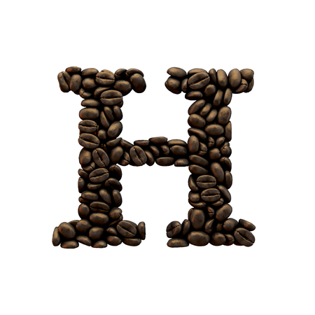 Letter H coffee bean alphabet lettering. 3D Rendering