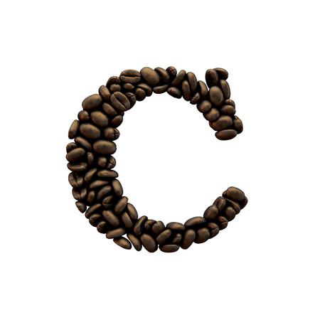 Letter C coffee bean alphabet lettering. 3D Rendering