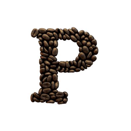Letter P coffee bean alphabet lettering. 3D Rendering 版權商用圖片