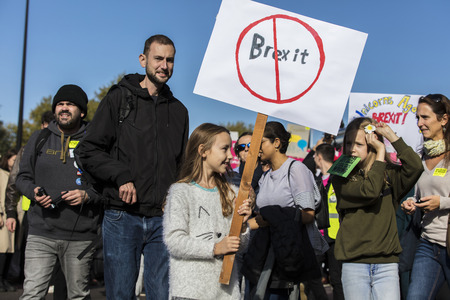 LONDON, UK - OCTOBER 20th 2018: Hundreds of thousands of people join the people's vote Anti Brexit protest march in central London