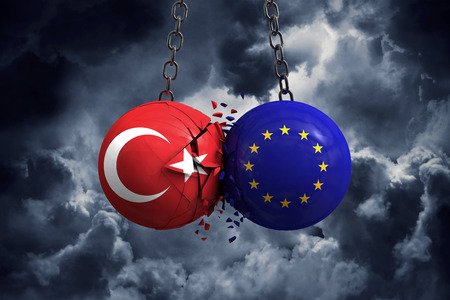 Turkey flag and European union political balls smash into each other. 3D Rendering 스톡 콘텐츠