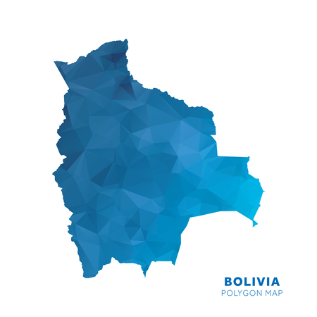 Map of Bolivia. Blue geometric polygon map.
