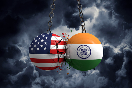 Relationship conflict between USA and India. Trade deal concept. 3D Rendering