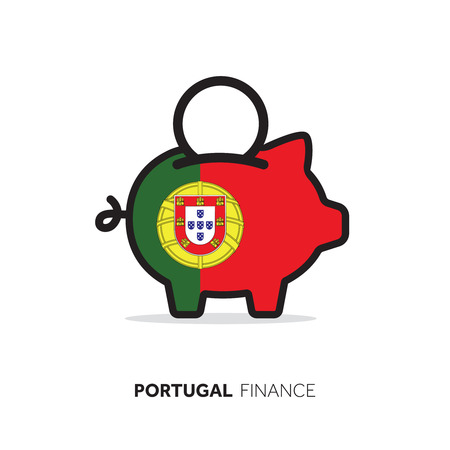 Portugal economic concept. Piggy bank with national flag.