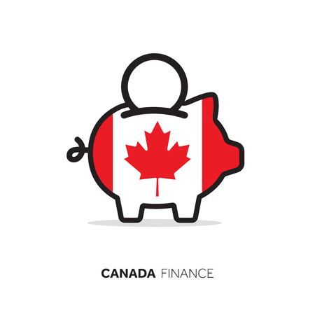 Canada economic concept. Piggy bank with national flag.