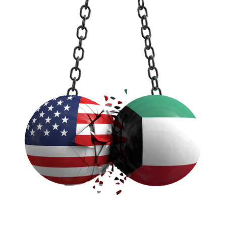 Relationship conflict between USA and Kuwait. Trade deal concept. 3D Rendering