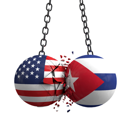 Relationship conflict between USA and Cuba. Trade deal concept. 3D Rendering