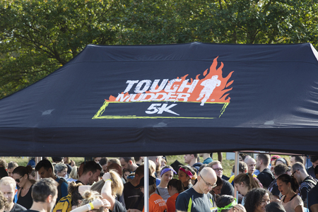 LONDON, UK - September 13th 2018: Sign for a Tough Mudder 5K obstacle race in London.
