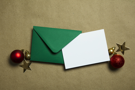 Christmas letter to Santa. Letter and envelope with festive decorations