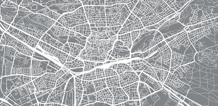 Urban vector city map of Nuremberg, Germany