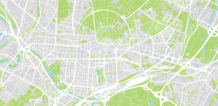 Urban vector city map of Karlsruhe, Germany
