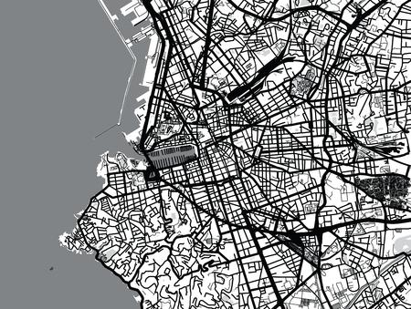 Urban vector city map of Marseille, France