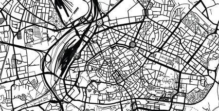 Urban vector city map of Strasbourg, France