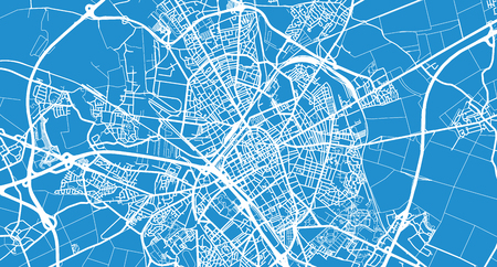 Urban vector city map of Reims, France