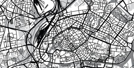 Urban vector city map of Strasbourg, France Standard-Bild