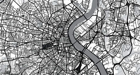 Urban vector city map of Bordeaux, France