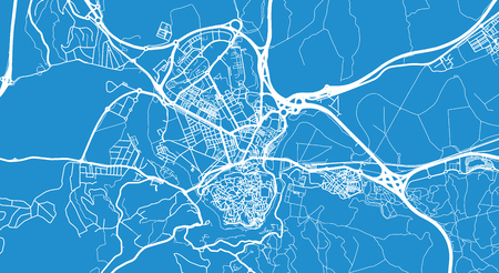 Urban vector city map of Toledo, Spain