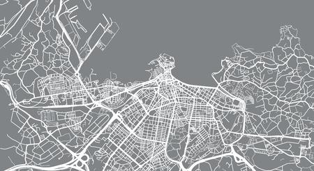 Urban vector city map of Gijon, Spain