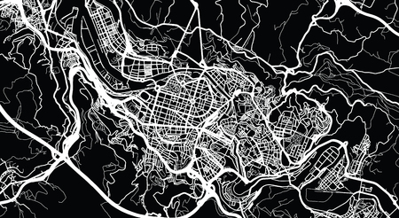 Urban vector city map of Bilbao, Spain