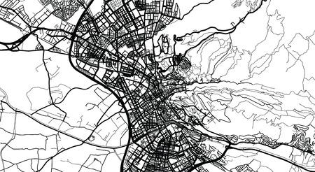Urban vector city map of Granada, Spain