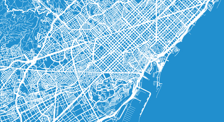 Urban vector city map of Barcelona, Spain