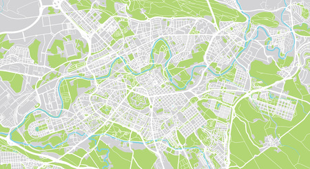 Urban vector city map of Pamplona, Spain Stock Photo