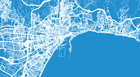 Urban vector city map of Malaga, Spain