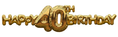 Happy 40th birthday gold foil balloon greeting background. 3D Rendering Imagens