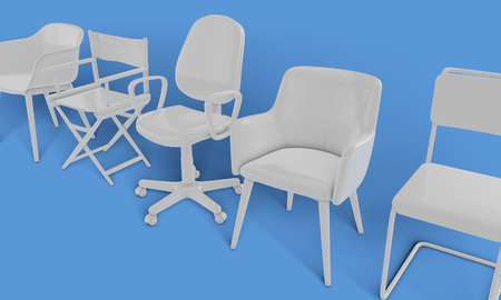 Row of different chairs. Job opportunity. Business diversity. recruitment. 3D rendering Banque d'images - 111240899