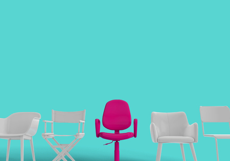 Row of chairs with one odd one out. Job opportunity. Business leadership. recruitment. 3D rendering Stock Photo