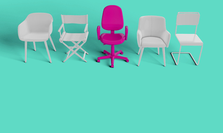 Row of chairs with one odd one out. Job opportunity. Business leadership. recruitment. 3D rendering Banque d'images - 111240900