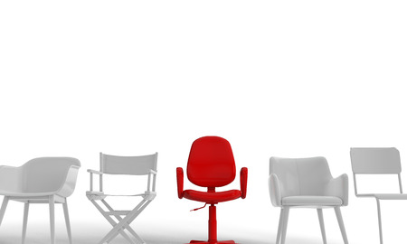 Row of chairs with one odd one out. Job opportunity. Business leadership. recruitment. 3D rendering Banco de Imagens