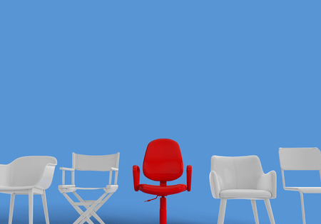 Row of chairs with one odd one out. Job opportunity. Business leadership. recruitment. 3D rendering Stockfoto