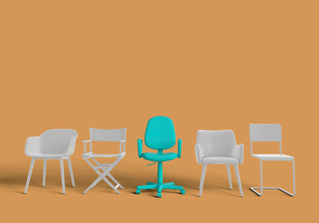 Row of chairs with one odd one out. Job opportunity. Business leadership. recruitment. 3D rendering Banque d'images - 111240907