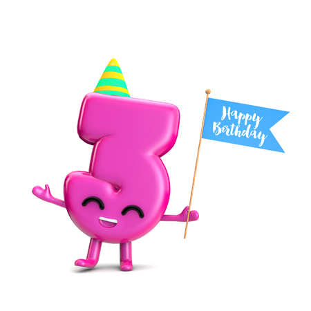 Happy 3rd Birthday cute party character with hat and flag. 3D Rendering Фото со стока