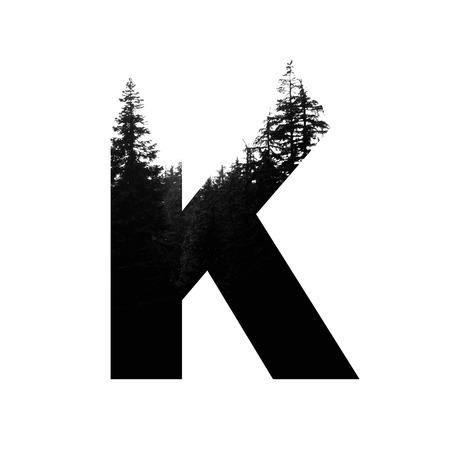 Letter K hipster wilderness font lettering. Outdoor adventure.
