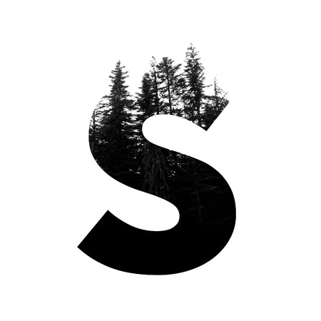 Letter S hipster wilderness font lettering. Outdoor adventure.