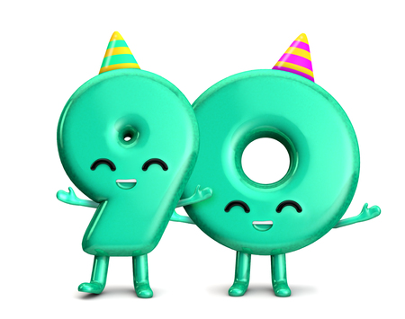 Happy 90th Birthday cute party character with hat. 3D Rendering