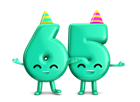 Happy 65th Birthday cute party character with hat. 3D Rendering