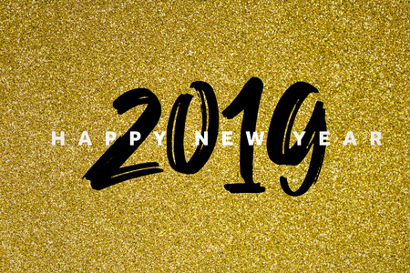 Gold glitter 2019 happy new year background Stok Fotoğraf