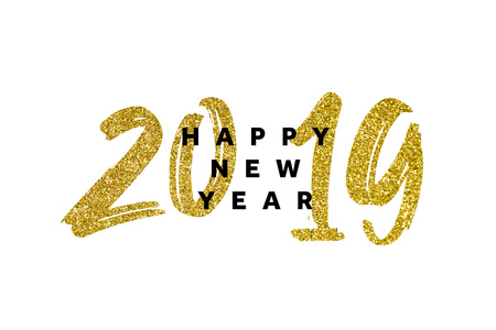 Gold glitter 2019 happy new year background Stok Fotoğraf - 111415430