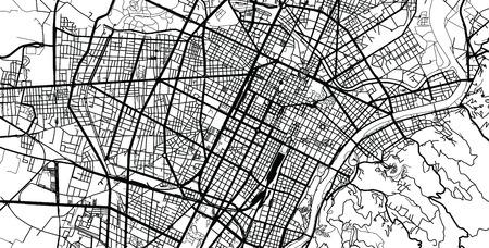 Urban vector city map of Turin, Italy